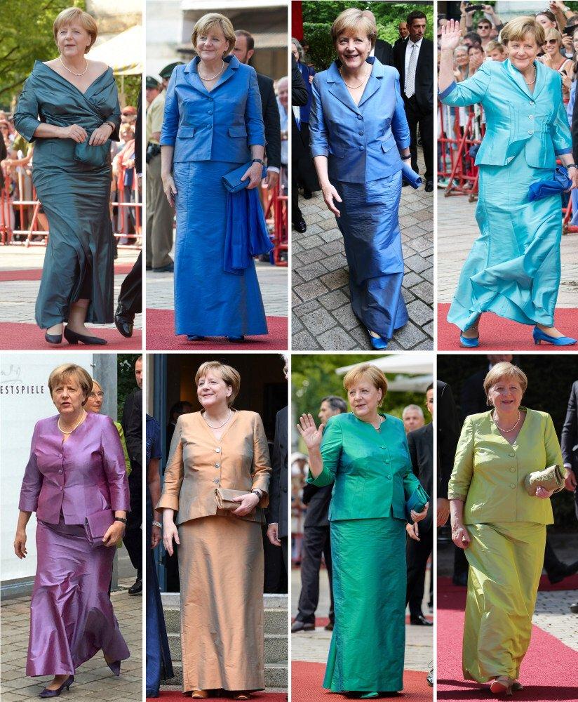 Bà Merkel yêu thích combo vest lửng và váy đuôi ca tôn dáng đặc trưng của bà ở các lần xuất hiện khác nhau tại lễ hội.
