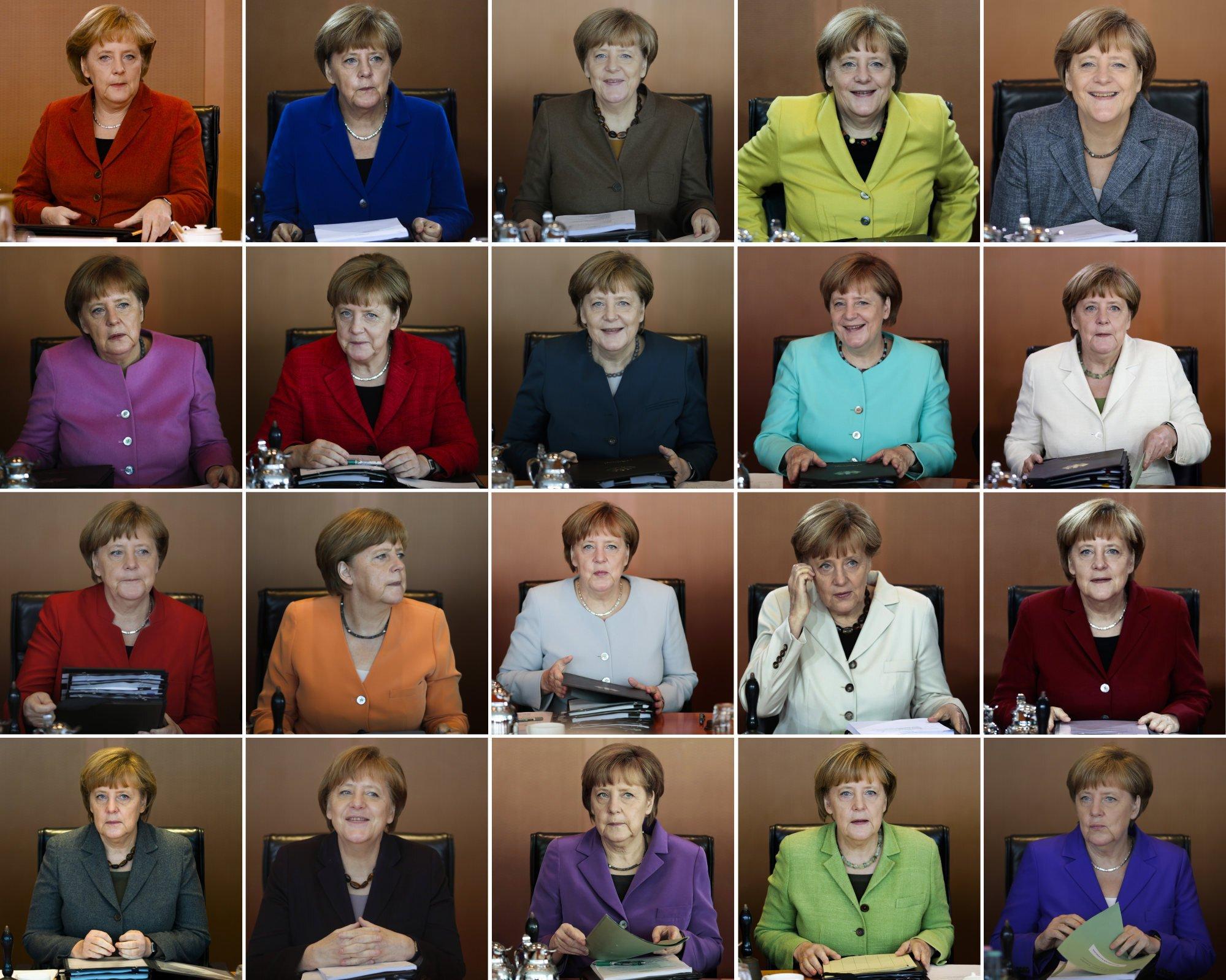 Xuyên suốt những năm qua tại các cuộc họp nội các hàng tuần của chính phủ, bà Angela Merkel đã có cho riêng mình bộ sưu tập áo khoác phong phủ đủ màu sắc bên cạnh mái tóc ngắn đặc trưng của bà. Bà từng cho biết, bà không bảo thủ song mái tóc ngắn, mái bằng là kiểu tóc giúp bà thấy thoải mái và hợp nhất.