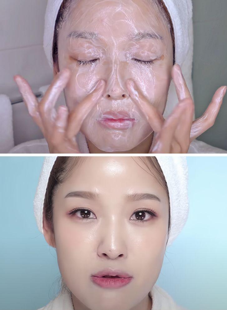 Rửa mặt theo phương pháp 4 - 2 - 4 Phương pháp rửa mặt 4 - 2 - 4 rất phổ biến tại Hàn Quốc. Trong đó, 4 phút đầu tiên dùng để làm sạch da với dầu tẩy trang, 2 phút tiếp theo làm sạch với sữa rửa mặt và 4 phút cuối cùng dùng để rửa mặt với tinh dầu. Nhờ phương pháp làm sạch này mà phụ nữ Hàn Quốc có làn da láng mịn.