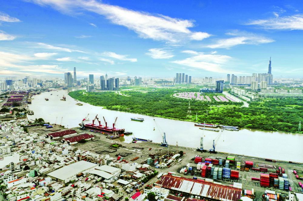 Tầm nhìn thực tế từ dự án Asiana Riverside hướng về trung tâm Q.1  và khu đô thị mới Thủ Thiêm xanh mát