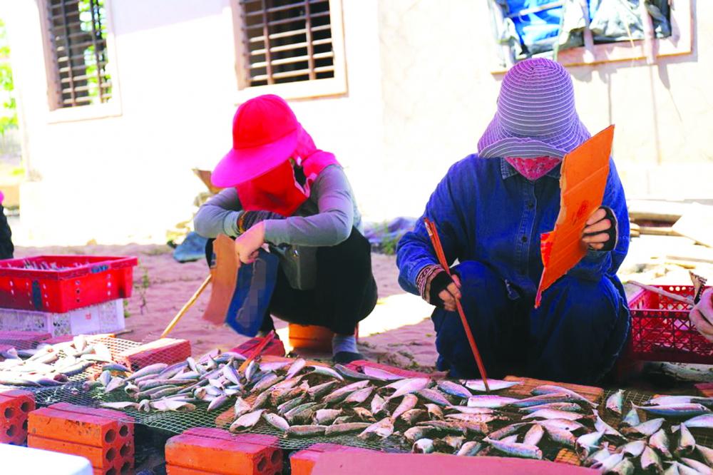 Phụ nữ thôn Cự Lại, xã Phú Hải, H.Phú Vang, tỉnh Thừa Thiên - Huế nướng cá nục gửi tặng người dân TP.HCM ẢNH: THUẬN HÓA