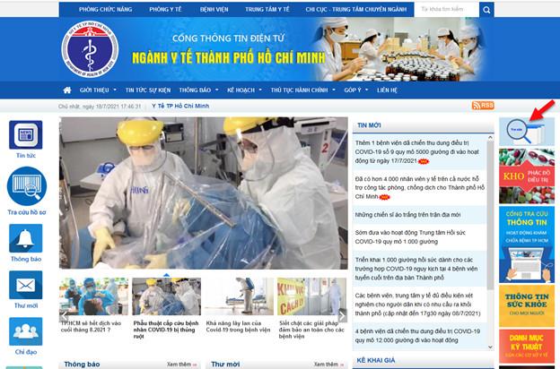 Vào mục tìm kiếm tại Cổng thông tin của Sở Y tế TPHCM