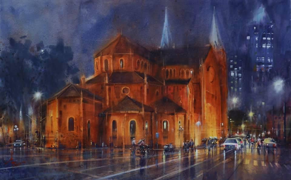 Một góc Nhà thờ Đức Bà trong tranh của hoạ sĩ Đoàn Quốc