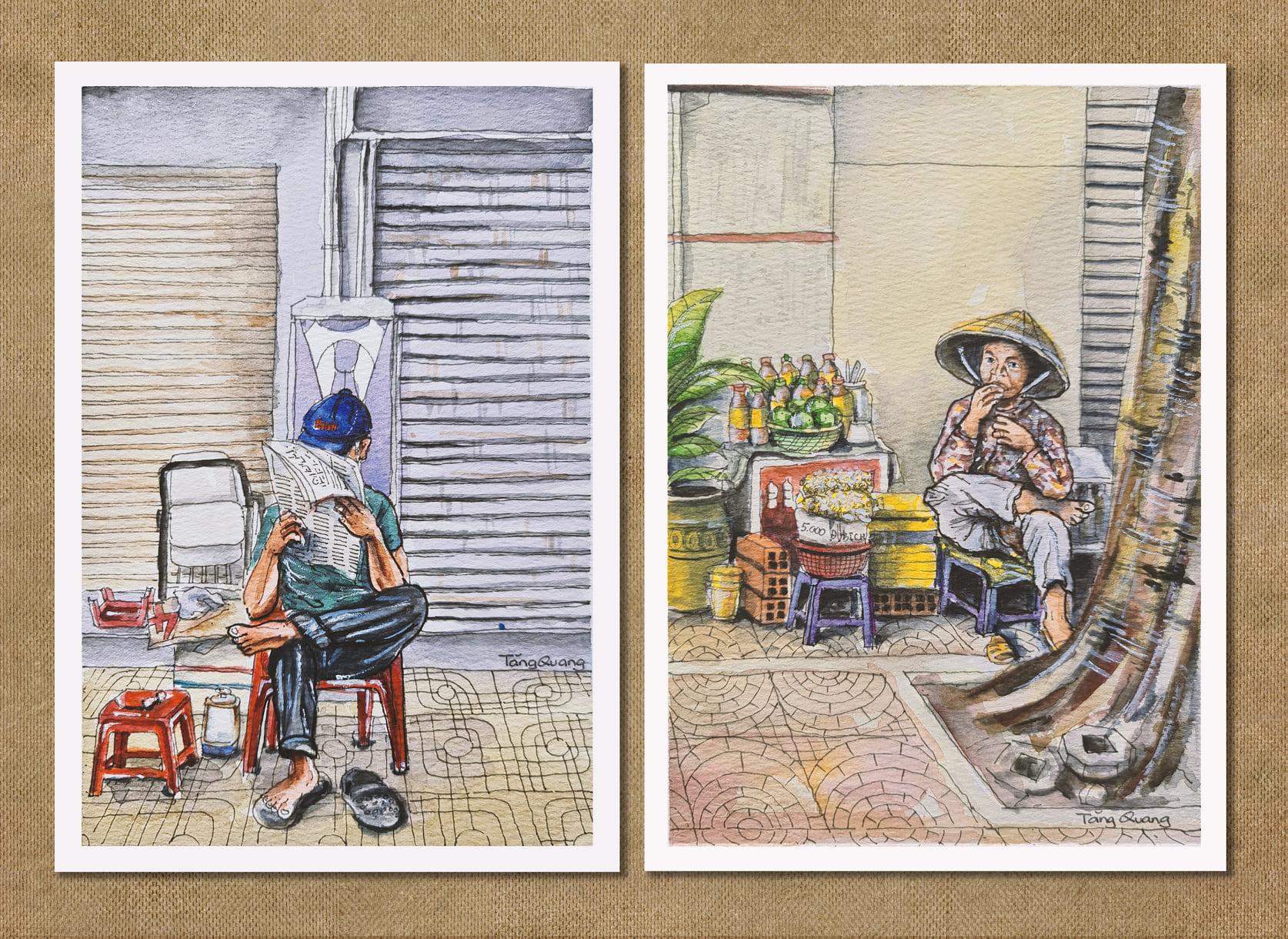 Những bức hoạ Sài Gòn của tác giả Tăng Quang mang một tinh thần