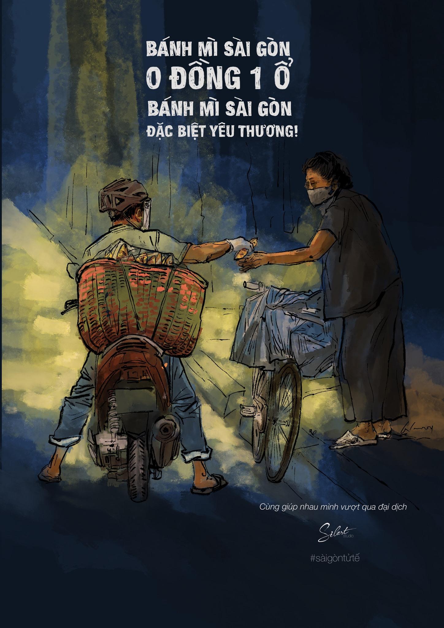 Hoạ sĩ Trần Trung Lĩnh vẽ một số tranh về tình người Sài Gòn trong những ngày tháng khó khăn vì dịch bệnh.