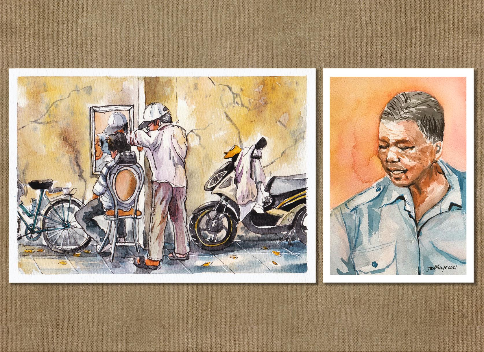 Tăng Quang không thực hiện bộ tranh một mình mà cùng một số bạn bè, người quen vẽ nên những hình ảnh thân thuộc của Sài Gòn. Tăng Quang nói