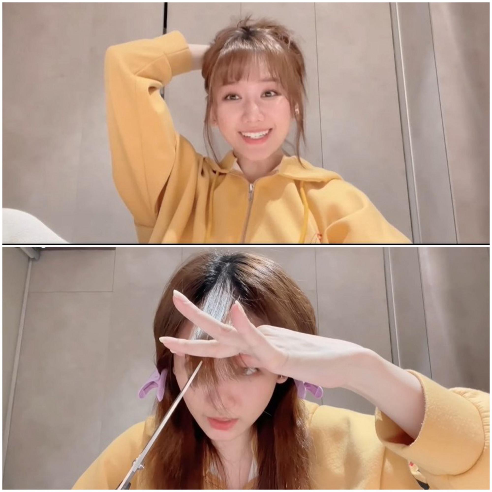 Hari Won cũng trổ tài làm mới mái tóc của mình, thậm chí cô còn đăng tải video hướng dẫn từng bước để cắt phần tóc mái đẹp. Chỉ với vài đường kéo đơn giản, bà xã Trấn Thành để hoàn thiện phần mái, sau đó cô còn cẩn thận cuốn lô để tóc có độ phồng nhất định.