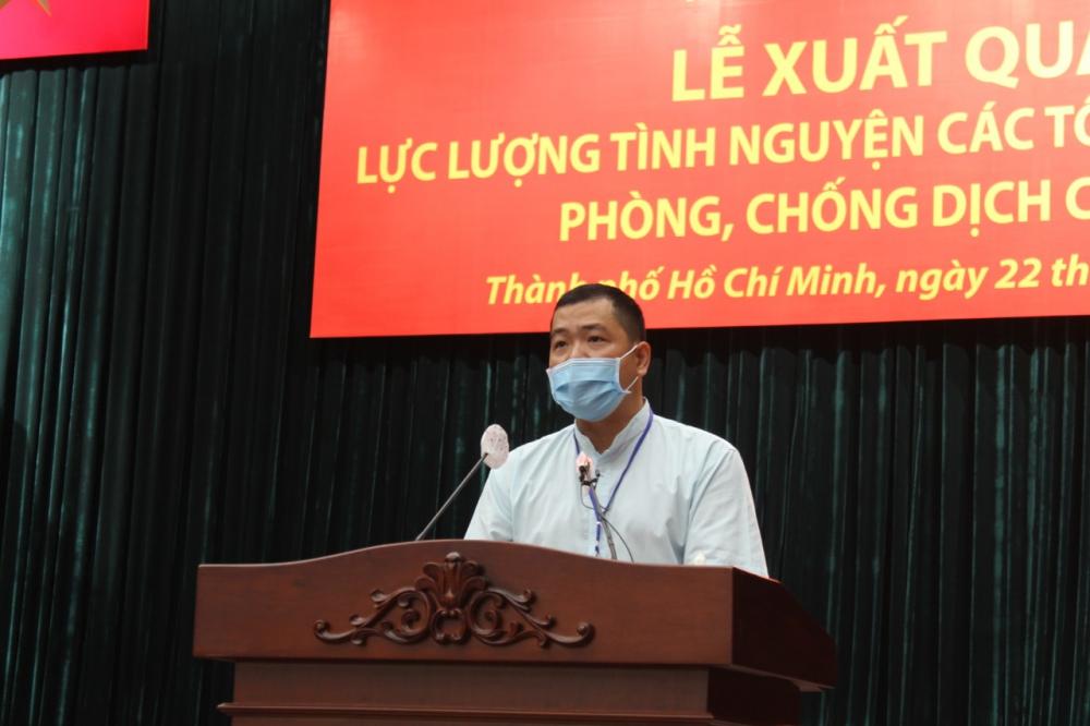 Tu sĩ Lương Thanh Tùng bày tỏ niềm vinh dự được tham gia chương trình, góp phần phụng sự những người cần đến. Ảnh: Tam Bình.