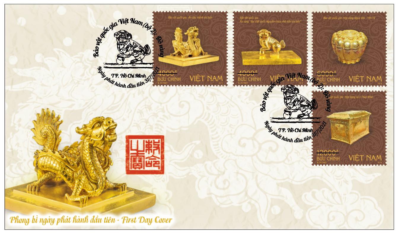 """Bộ tem """"Bảo vật quốc gia Việt Nam (bộ 2): Đồ vàng nhằm tiếp tục tôn vinh, giới thiệu, khẳng định những giá trị văn hoá lịch sử"""