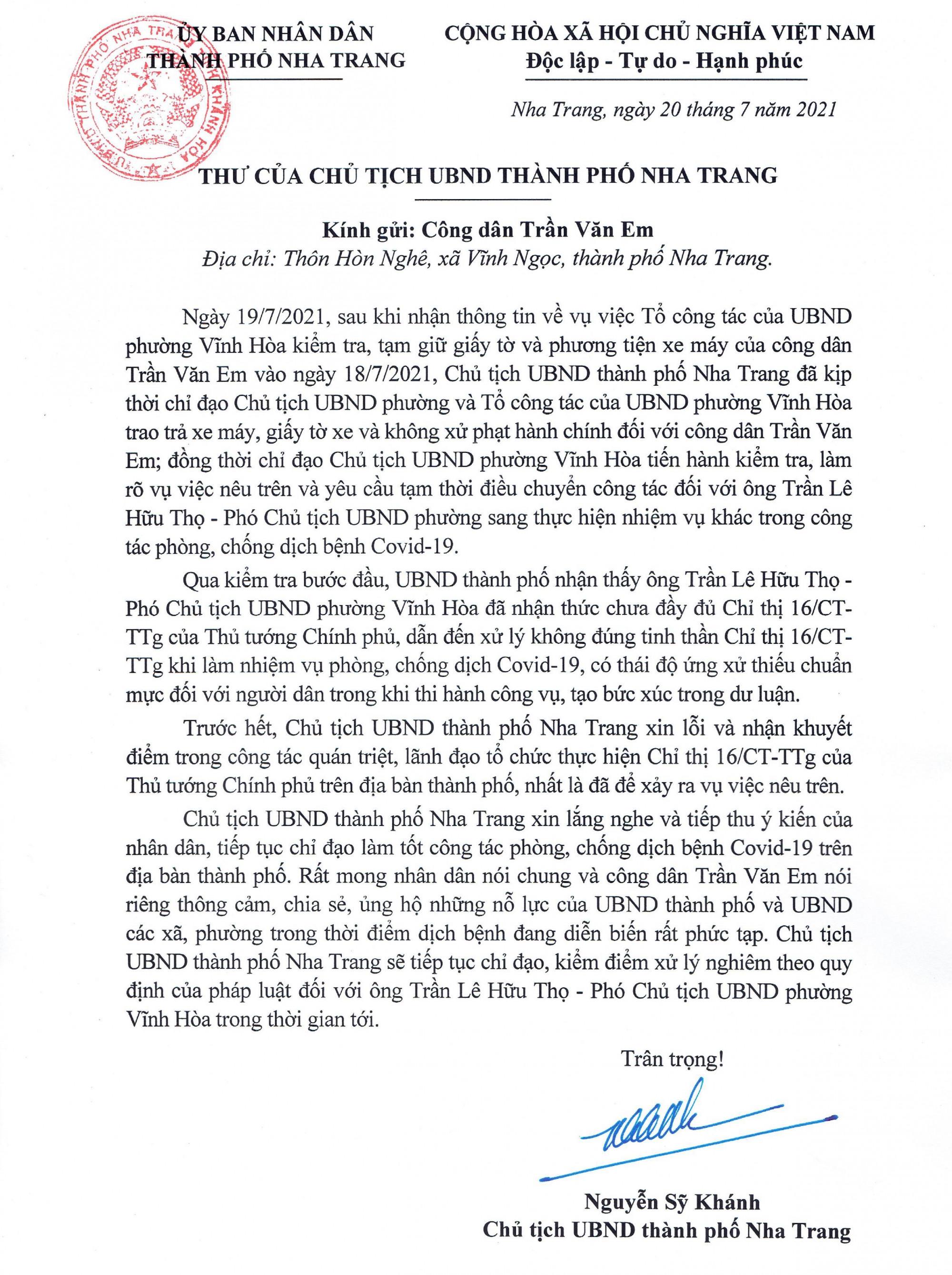 Thư của Chủ tịch UBND TP Nha Trang Nguyễn Sỹ Khánh