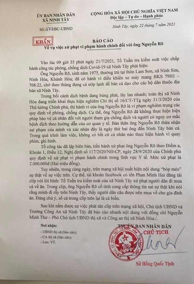 Văn bản giải thích vụ việc của Chủ tịch xã Ninh Tây.