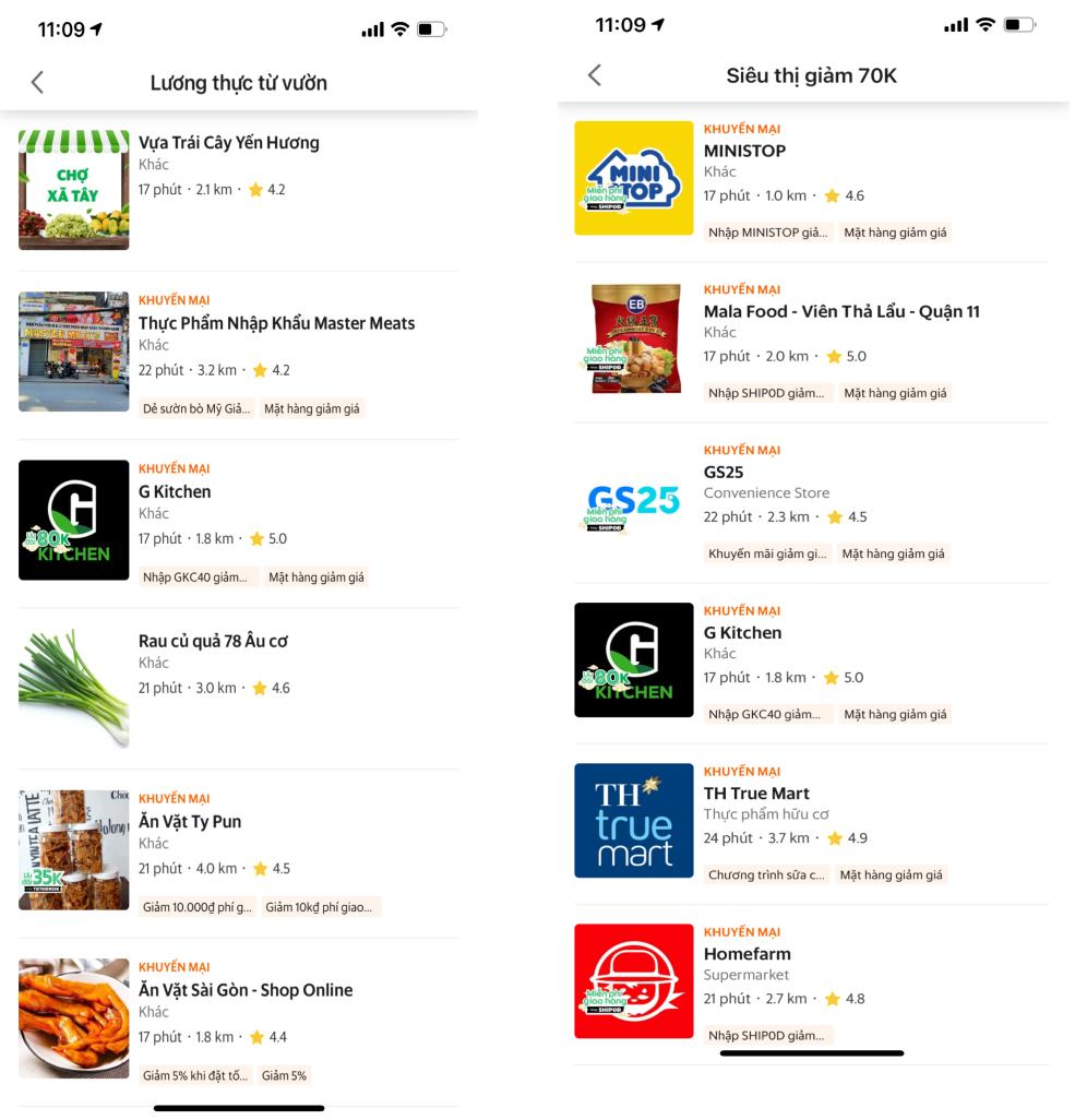 GrabMart cung cấp nhiều lựa chọn thực phẩm đa dạng như hàng tươi sống, trái cây, rau củ...  bình ổn giá, giao hàng nhanh 1 giờ