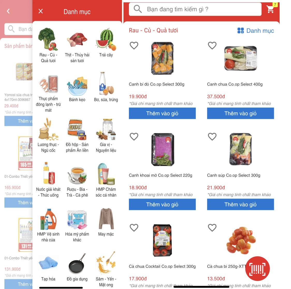 Các nhóm ngành hàng được phân chia khá khoa học trên app Saigon Co.op