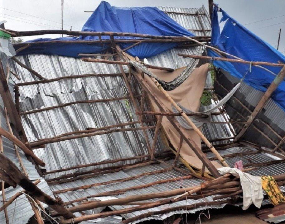 Hiện trường căn nhà ông S bị sập do lốc xoáy. Ảnh: Thùy Linh.