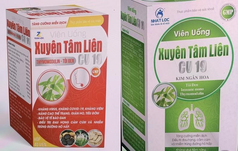 Sản phẩm thực phẩm chức năng Xuyên Tâm Liên CV19 với logo Toàn Lộc (vỏ hộp màu đỏ) và Xuyên Tâm Liên CV19 với logo Nhất Lộc (vỏ hộp màu xanh lá cây)