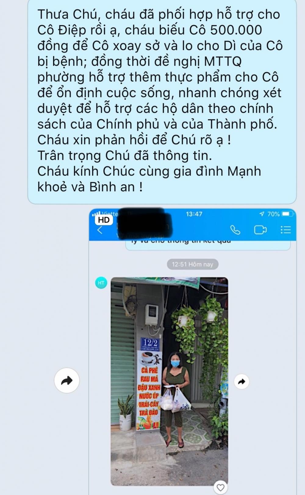 Tin nhắn phản hồi đã giải quyết trường hợp người dân cần hỗ trợ khẩn cấp ở TP Thủ Đức của cán bộ MTTQ tại cơ sở.