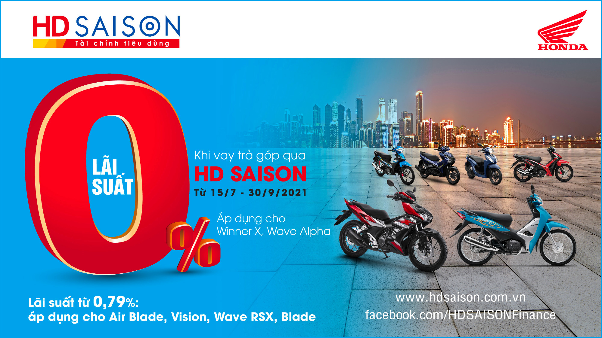 Sở hữu ngay xe mới với gói vay lãi suất 0% từ HD SAISON