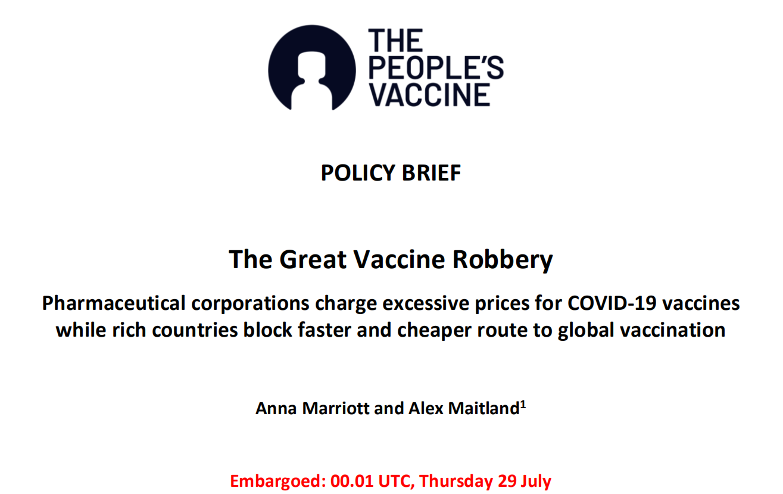 """Bà Anna Marriott, Quản lý Chính sách Y tế của Oxfam cho biết: """"Các hãng dược đang đòi cả thế giới tiền chuộc vào thời điểm khủng hoảng toàn cầu chưa từng có..."""