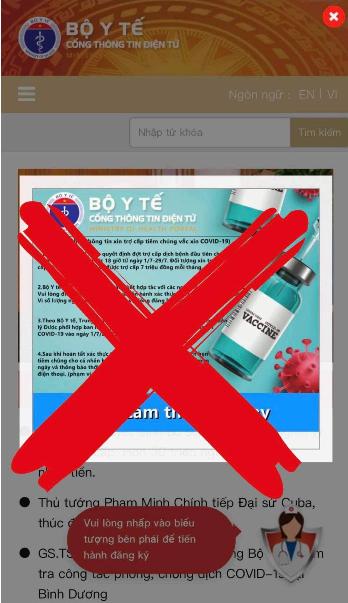 Website giả mạo Cổng thông tin điện tử của Bộ Y tế để lừa đảo