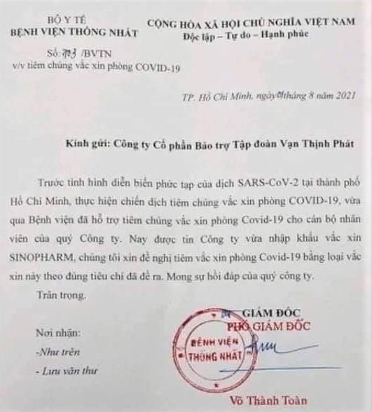 Văn bản lan truyền trên mạng xã hội chiều 1/8 do tiến sĩ Võ Thành Toàn - Phó giám đốc Bệnh viện Thống Nhất - ký tên, đóng dấu gửi Công ty Cổ phần Bảo trợ Tập đoàn Vạn Thịnh Phát được xác nhận là văn bản thật bởi lãnh đạo bệnh viện