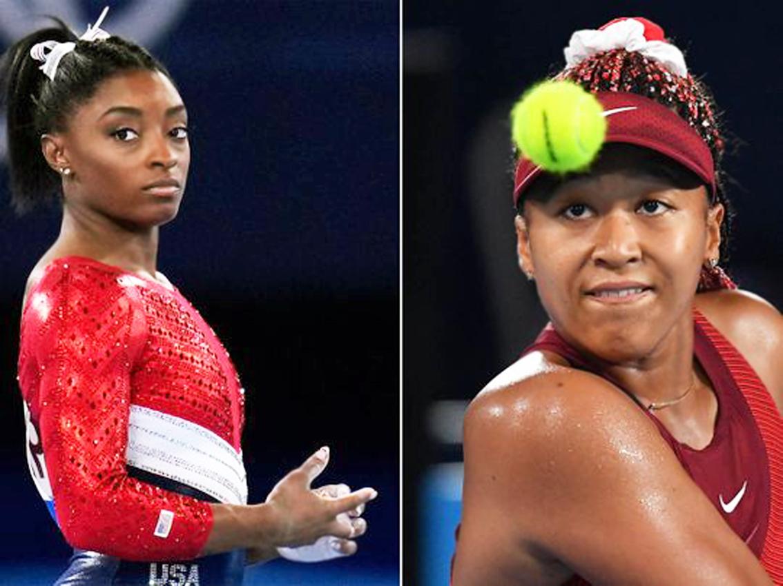 Simone Biles (trái) và Naomi Osaka (phải) mang đến sự chú ý của dư luận về vấn đề hệ trọng là sức khỏe tâm thần của các nữ vận động viên
