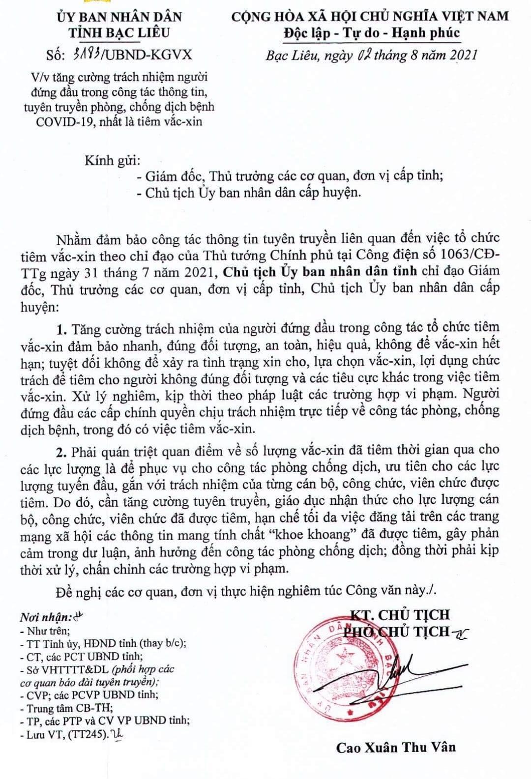 Công văn của tỉnh Bạc Liêu mới ban hành