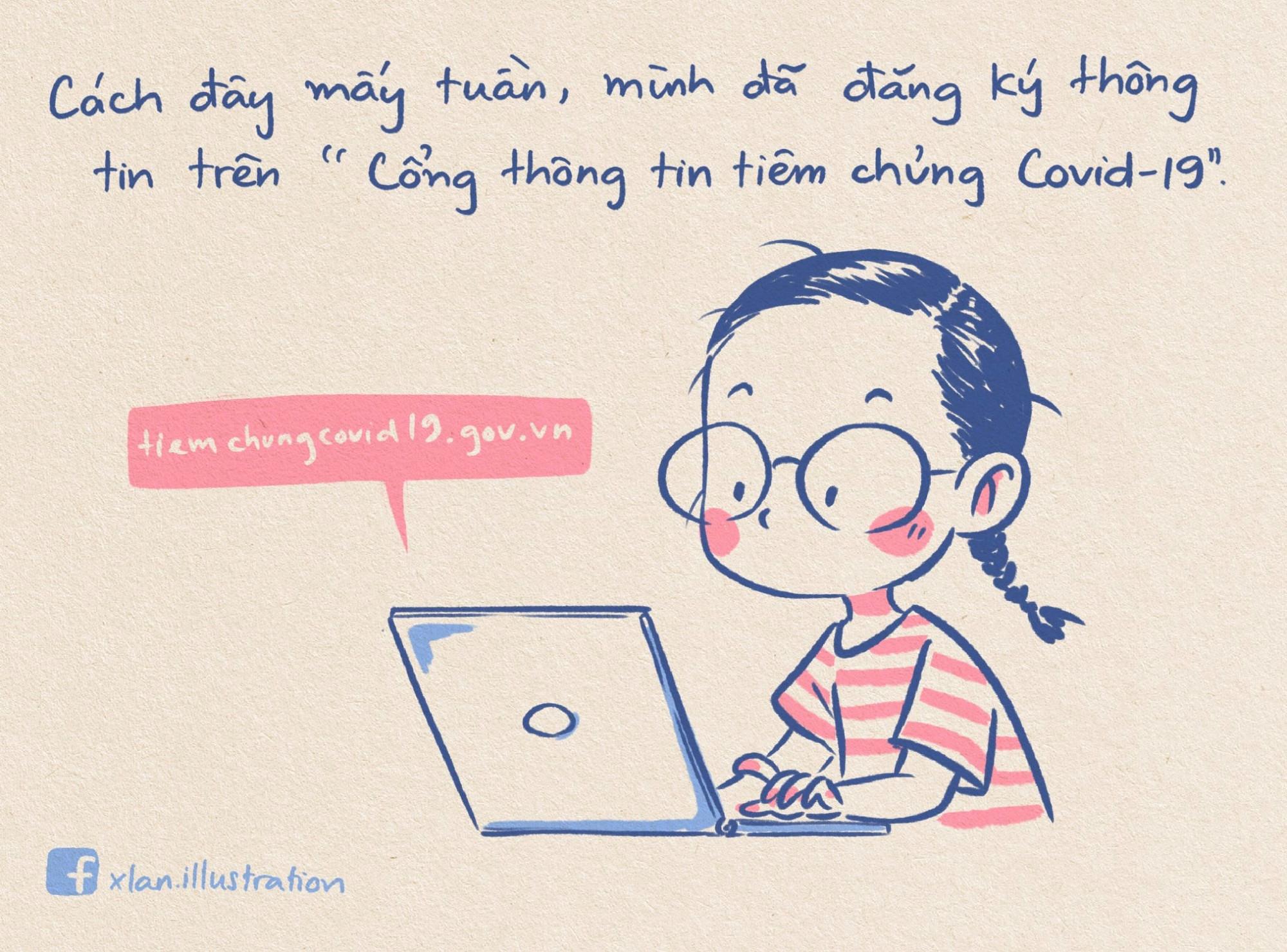 Xuân Lan đăng ký tiêm phòng COVID-19 trên mạng, thông qua đường link mà mẹ cô gửi.
