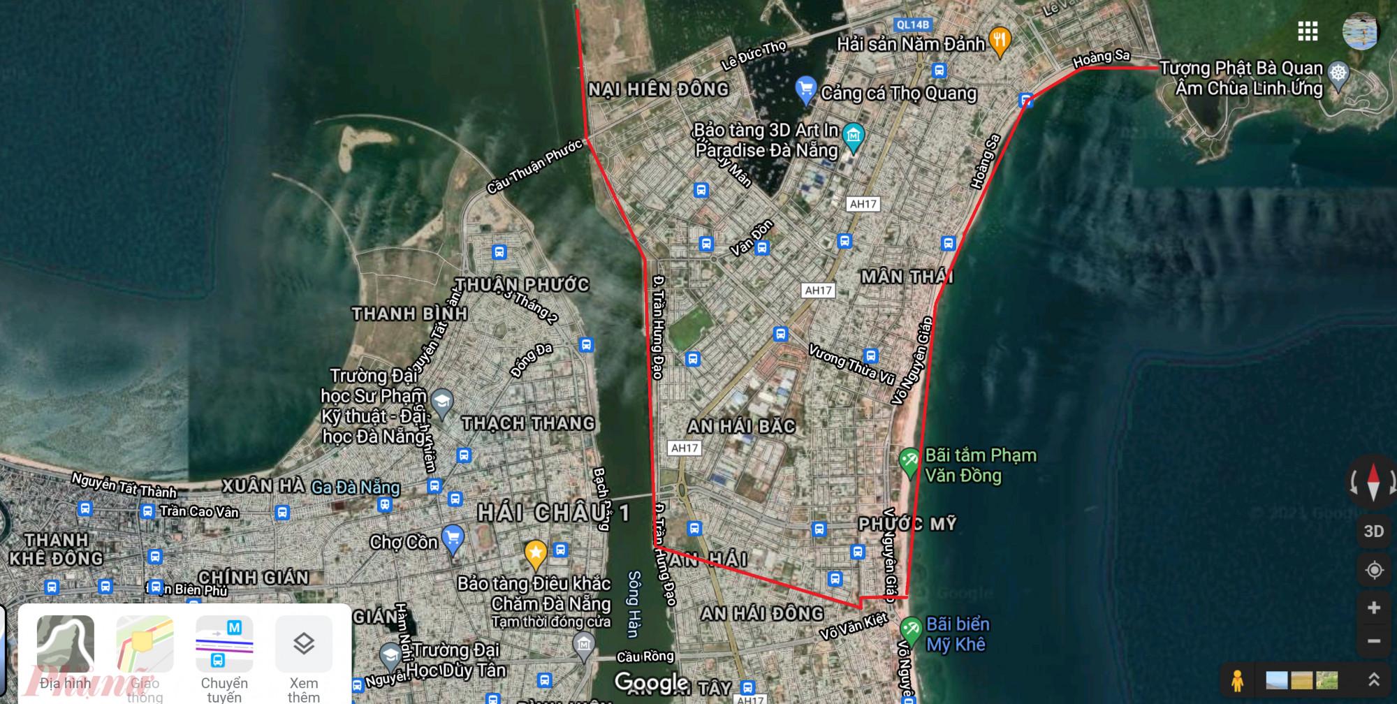 Các chốt chặn được chính quyền quận Sơn Trà thiết lập bao quanh vùng khoanh đỏ, bên trong là 5 phường đang có nhiều ca nhiễm