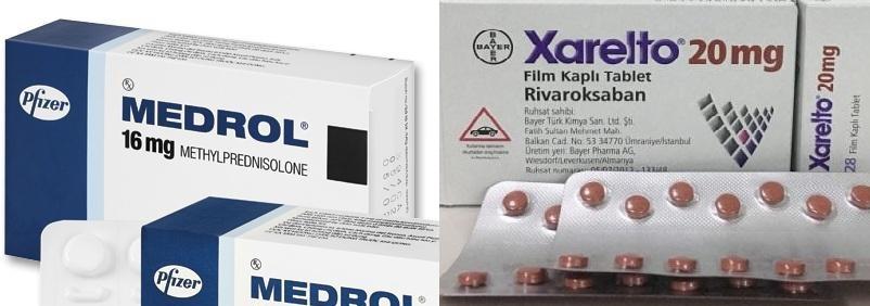 Thuốc kháng viêm Medrol 16mg và thuốc kháng đông Xarelto 20mg
