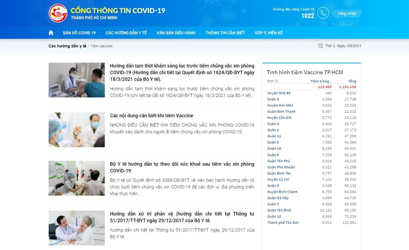 Cổng thông tin COVID-19 tích hợp nhiều nội dung liên quan phòng chống dịch bệnh