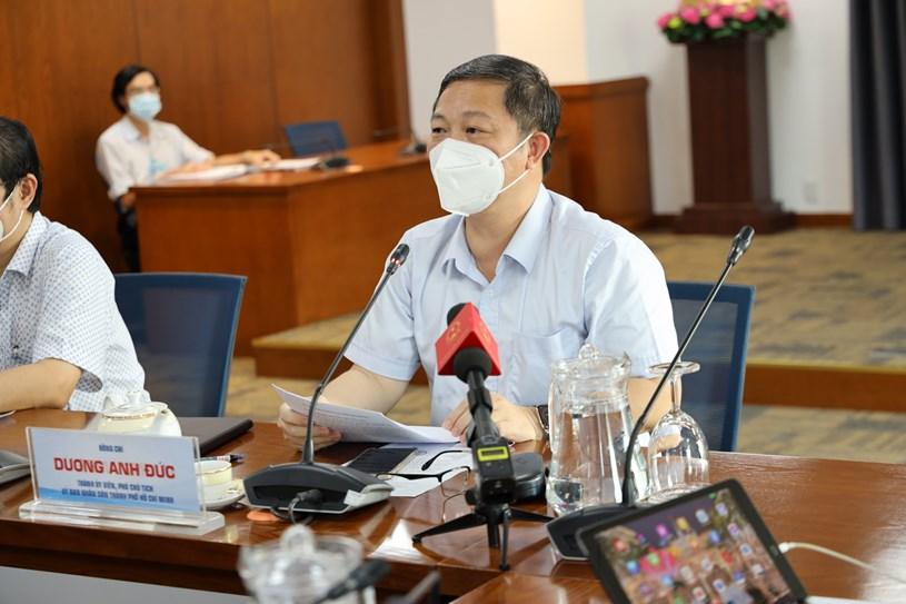 Phó Chủ tịch UBND TPHCM Dương Anh Đức  tại buổi cung cấp thông tin về tình hình COVID -19 tại TPHCM, chiều ngày 5/8