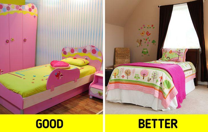 Cũng giống như trẻ em lớn lên, đôi khi có vẻ là tốc độ ánh sáng, và quần áo của chúng dài ra, khẩu vị của chúng cũng thay đổi nhanh chóng. Đó là lý do tại sao khi chọn màu sắc hoặc giấy dán tường cho một căn phòng, nó có thể không phải là ý tưởng tốt nhất để mang đi. Điều này cũng đúng nếu bạn đang nghĩ đến việc trang trí toàn bộ căn phòng với một chủ đề cụ thể hoặc một màu rất mạnh.  Điều quan trọng là giữ cho các bức tường có tông màu trung tính và tạo điểm nhấn về màu sắc với các yếu tố như đệm, giường, hoặc tranh ảnh có thể dễ dàng thay thế theo sự phát triển và sở thích của trẻ.