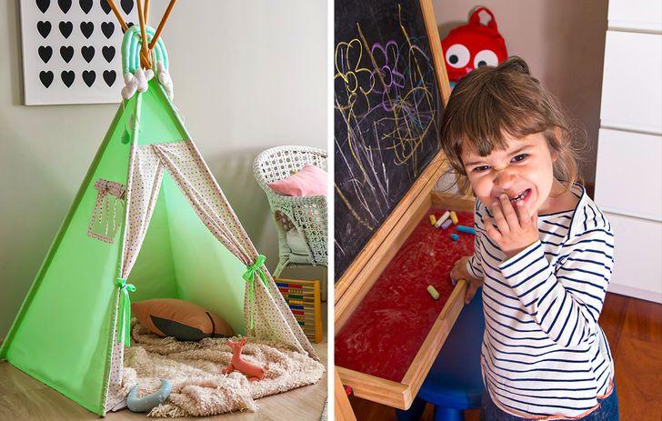 Là cha mẹ, chúng ta luôn hào hứng trang trí và trang trí nội thất cho căn phòng cho con cái của mình, nhưng chúng ta không được quên rằng không gian này sẽ là của họ và chỉ dành cho chúng. Vì vậy, nhu cầu và thị hiếu của họ nên được ưu tiên thay vì của chúng ta.  Để có không gian vui chơi và ảo thuật, bạn có thể dễ dàng thực hiện bằng cách thêm một số đồ vật vui nhộn như teepee hoặc treo các ngôi sao, hoặc trang bị bảng phấn để trẻ phát triển trí tưởng tượng và óc sáng tạo, để trẻ luôn cảm thấy thoải mái trong phòng của mình. Cuối cùng, họ có thể dành nhiều thời gian ở đó, vì vậy đó cần phải là nơi để họ có thể thỏa sức sáng tạo.