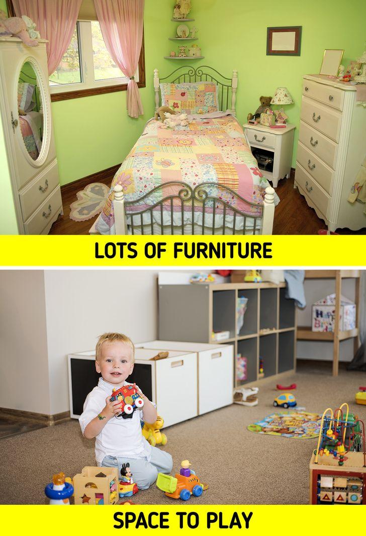 Trẻ em thường có rất nhiều đồ đạc, bao gồm giường, tủ, tủ quần áo, hộp đồ chơi và trong một số trường hợp là bàn, ghế và bảng. Nhưng chúng ta thường quên rằng chúng thực sự chỉ có một căn phòng nhỏ, và trong hầu hết các trường hợp, chúng ta sẽ không để lại đủ không gian cho trẻ em tự do chơi đùa và có chỗ riêng trong phòng của chúng.