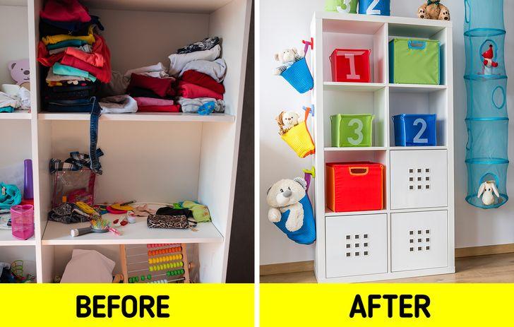 Ngoài quần áo của chúng, trẻ em có nhiều thứ khác để lưu trữ và xử lý, chẳng hạn như sách và đồ chơi. Đó là lý do tại sao điều quan trọng đối với họ là phải có tủ quần áo, tủ ngăn kéo, giỏ hoặc kệ để mọi thứ có vị trí riêng của nó. Bằng cách này, đứa trẻ, ngay từ khi còn nhỏ, có thể phát triển ý thức về trật tự .  Chúng ta không được quên rằng trẻ sơ sinh phải có quần áo mới rất nhanh vì chúng không ngừng lớn lên, và nếu lúc đầu, chúng có nhiều chỗ trong tủ, điều này sẽ sớm thay đổi. Do đó, tủ quần áo của họ cũng phải có khả năng thích ứng với những thay đổi này.