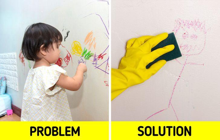 Khi trang trí một căn phòng, chúng ta không được quên rằng những bức tường không chỉ phải đẹp mà còn phải đủ khả năng chống lại bất cứ điều gì mà một đứa trẻ có thể nghĩ là một ý tưởng hay để trang trí phòng của chúng. Sơn Vinyl , giấy dán tường rửa , hoặc một  lớp ván lót phía dưới chân tường là lựa chọn lý tưởng để cho bất kỳ thử nghiệm tổ chức bởi những người ít có thể dễ dàng làm sạch. Nếu không, bạn có thể phải đầu tư nhiều hơn vào việc sửa chữa căn phòng.