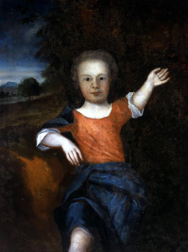 """Tranh sơn dầu vẻ cậu bé Francis """"Franky"""" Franklin 4 tuổi, con trai của Benjamin Franklin được vẻ năm 1736-1737 - Tác giả: Samuel Johnson"""
