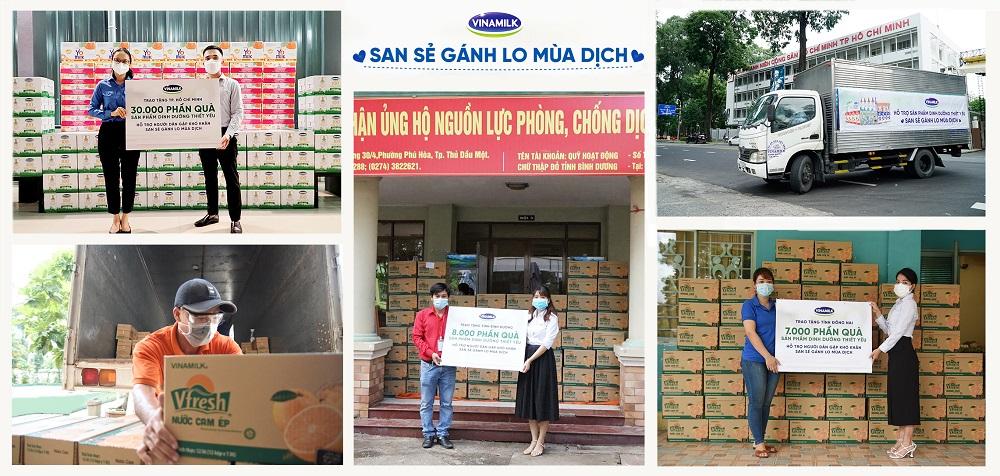 45.000 phần quà là những sản phẩm dinh dưỡng thiết yếu được Vinamilk trao tặng cho người dân, người lao động có hoàn cảnh khó khăn - Ảnh: Vinamilk