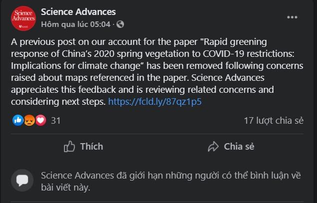 Trang Facebook của Science Advances  đưa ra lời xin lỗi và gỡ bõ bài đăng trước đó. Dù vậy, báo cáo khoa học vẫn tồn tại trên trang web chính thức của tạp chí