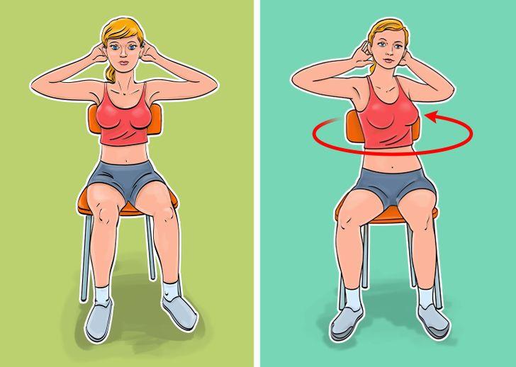 Twists for your xiên 7 bài tập cho bụng phẳng và eo thon mà bạn thậm chí có thể thực hiện khi ngồi trên ghế Bài tập này liên quan đến các cơ xiên và giúp chúng chắc khỏe.  Kỹ thuật tập luyện:  Vị trí bắt đầu ở đây cũng vậy. Uốn cong cánh tay của bạn và đặt chúng sau đầu. Xoay thân cây của bạn sang bên phải. Giữ chân và hông của bạn thẳng và đứng yên. Giữ trong 3 giây và xoay sang trái. Thực hiện 10 lần cho mỗi bên.