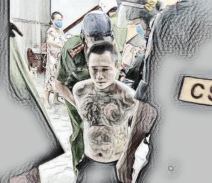 Lực lượng chức năng khống chế đối tượng Phạm Phú Hữu Hoàng