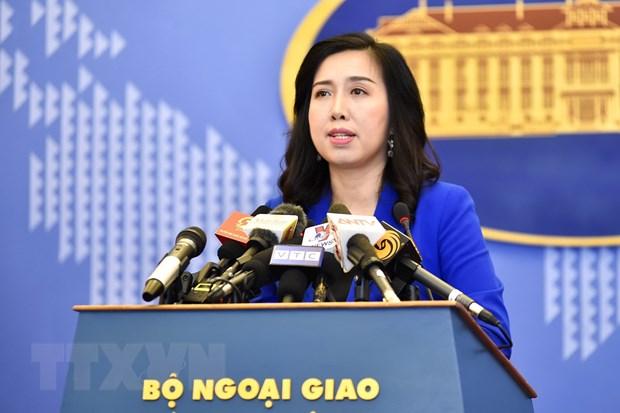 Người Phát ngôn Bộ Ngoại giao Lê Thị Thu Hằng lên tiếng trước việc Trung Quốc chính thức thi hành Luật An toàn giao thông hàng hải sửa đổi. (Ảnh: TTXVN)