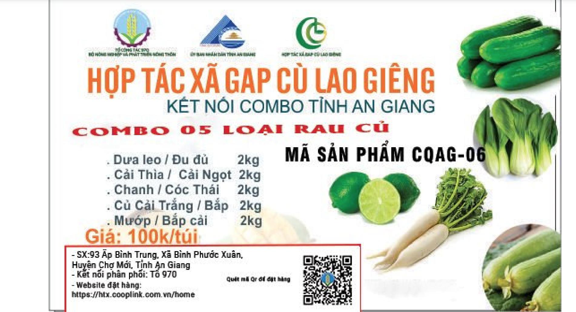 Combo 100.000 gồm từ An Giang gồm: 2kg dưa leo/đu đủ, 2kg cải thìa/cải ngọt, 2kg chanh/cóc thái, 2kg củ cải trắng/bắp, 2kg mướp/bắp cải.