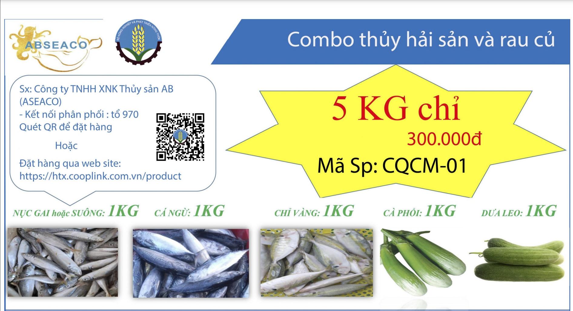 Combo 300.000 đồng từ tỉnh Cà Mau gồm: 1kg cá nục gai hoặc suông, 1kg cá ngừ, 1kg cá chỉ vàng, 1kg cà phổi, 1kg dưa leo.
