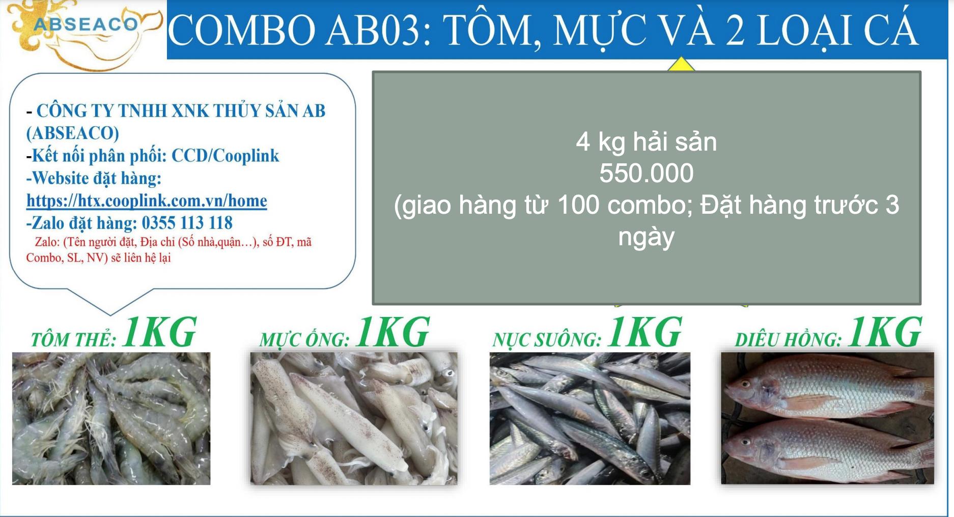 Combo 500.000 đồng từ tỉnh Cà Mau gồm: 1kg tôm thẻ, 1kg mực ống, 1kg nục suông, 1kg cá điêu hồng.