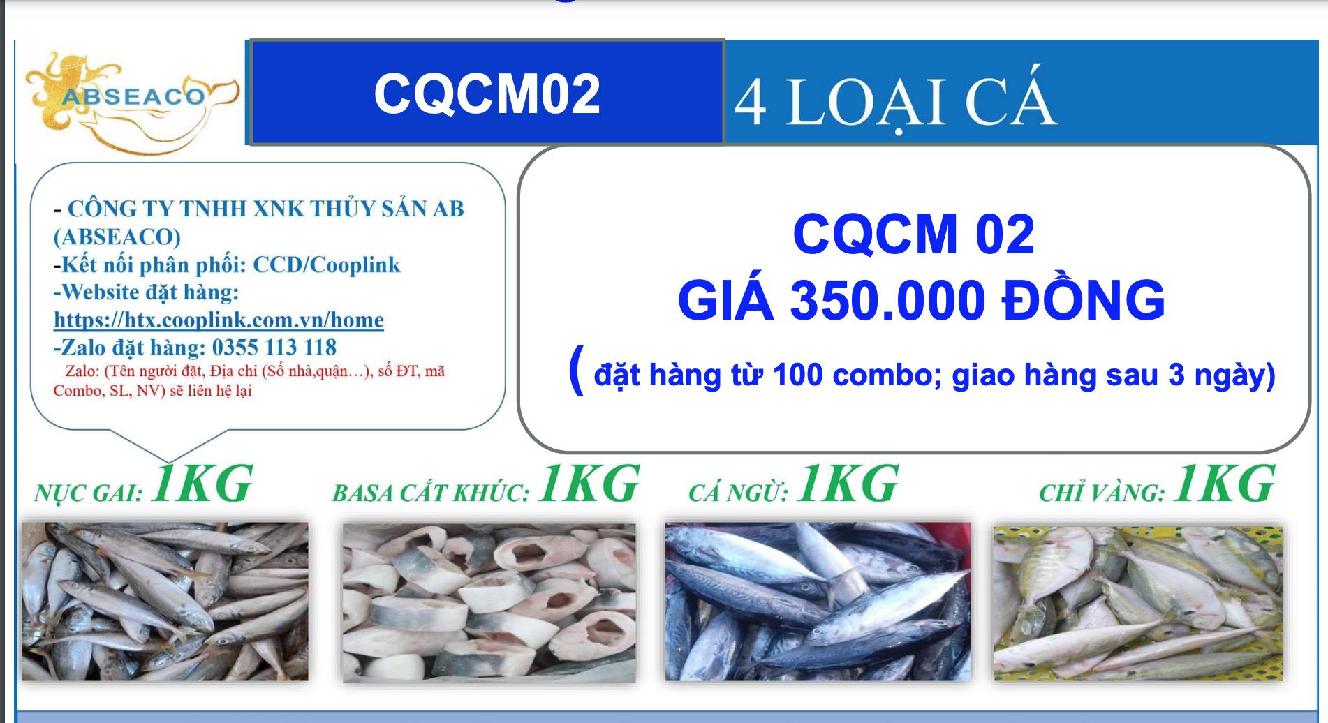 Combo 350.000 đồng từ tỉnh Cà Mau gồm: 1kg cá nục gai, 1kg basa cắt khúc, 1kg cá ngừ, 1kg cá chỉ vàng.
