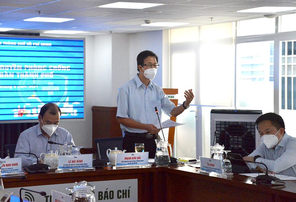 Ông Phạm Đức Hải - Phó Trưởng ban chỉ đạo phòng chống dịch COVID-19 TPHCM phát biểu chiều 4/9/2021
