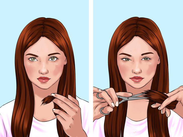 7. Điểm cắt phần tóc đã chẻ ngọn lên trên. Cách Tự Cắt Tóc Tại Nhà Như Một Chuyên Gia: 7 Mẹo Sau khi hoàn thành phần tóc phía trước, bạn có thể chăm sóc phần tóc chẻ ngọn, phần tóc khô và phần ít lớp hơn. Bạn có thể nhớ cách các nhà tạo mẫu thường kết thúc bằng cách chọn phần đuôi tóc của bạn để cắt chúng. Thực hiện tương tự bằng cách dùng kéo cắt phần đuôi tóc của bạn, hướng xuống sàn nhà, theo hướng tóc của bạn, như trong hình minh họa ở trên.