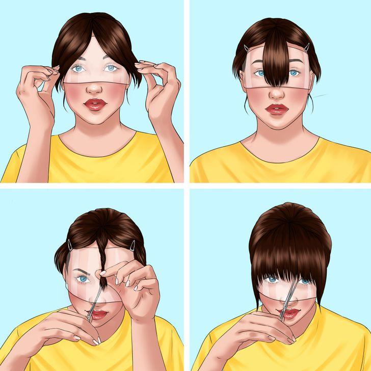 Cách cắt tóc mái thành công Cách Tự Cắt Tóc Tại Nhà Như Một Chuyên Gia: 7 Mẹo Tóc mái có thể thay đổi hoàn toàn diện mạo của bạn, nhưng đây không phải là kiểu tóc dễ cắt nhất mà không cần bảo dưỡng liên tục. Đầu tư vào một chiếc mặt nạ cho tóc mái của bạn có thể chứng minh là hữu ích. Để cắt phần đuôi tóc mái, hãy bắt đầu bằng cách chia tóc thành 3 phần: trước, giữa và hai bên. Các mặt có thể được cắt lại, trong khi mặt trước được xoắn và cắt điểm thành hình dạng tự nhiên. Hoàn thành chúng bằng cách vén phần tóc mái còn lại và san bằng tùy theo sở thích của bạn.