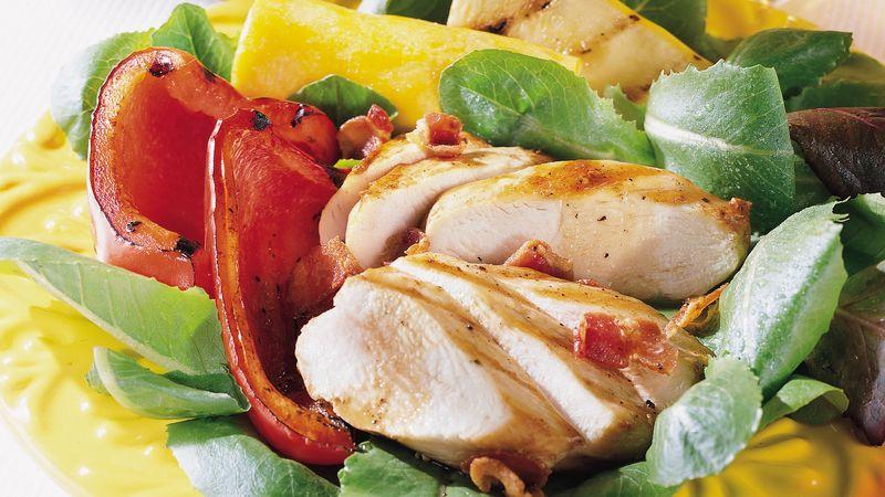 Salad gà nướng với thịt xông khói Vinaigrette 0 đánh giá   0 đánh giá   0 câu hỏi Salad gà nướng với thịt xông khói Vinaigrette Chuẩn bị 25 PHÚT Toàn bộ 25 PHÚT Khẩu phần ăn 4 Bữa tối đã sẵn sàng chỉ sau 25 phút! Món salad gà nướng với những miếng thịt xông khói cho bữa ăn thêm ngon miệng. Bởi Betty Crocker Kitchens Cập nhật ngày 23 tháng 11 năm 2010 Thành phần 3 lát thịt xông khói, cắt thành miếng 1/2 inch 3/4 chén dấm balsamic 1/4 chén dầu ô liu 2 muỗng canh đường nâu 1/2 muỗng cà phê lá kinh giới khô 4 nửa ức gà không da không xương 2 ớt chuông đỏ, mỗi trái 2 bí xanh hoặc bí xanh nhỏ màu vàng mùa hè, mỗi quả cắt đôi theo chiều dọc và chiều ngang 4 cốc đã mua rau trộn salad  Các bước Ngăn màn hình của bạn tối đi khi bạn nấu ăn.  1 Nướng nhiệt. Nấu thịt nướng bằng lò nướng trên lửa vừa cho đến khi giòn. Loại bỏ thịt xông khói chảo; to lên trên giấy. To qua một bên. 2 Thêm dầu, dầu, đường nâu và kinh giới vào thịt thổi nhỏ lửa trong chảo; cook and used on the fire to and the new path. Loại bỏ nhiệt độ. Dự trữ khoảng 1/4 kết hợp dùng để làm nam trong quá trình nướng; Reserved section for default quần áo. 3 Khi sẵn sàng để nướng, đặt gà trên bếp ga ở nhiệt độ vừa hoặc trên phương tiện truyền thống phải từ 4 đến 6 inch. Nấu 5 phút. 4 Đánh gà bằng men dành riêng; quay gà. Cho ớt chuông và bí vào nướng. Đánh gà và rau với men. Nấu khoảng 10 phút hoặc cho đến khi thịt gà chín mềm và nước chảy ra trong và rau củ chín mềm, lật gà và rau củ và đánh lớp men một hoặc hai lần. Loại bỏ phần men còn lại. 5 Để phục vụ, hãy sắp xếp hỗn hợp rau xanh trên 4 đĩa riêng lẻ. Cắt thịt gà thành từng lát mỏng; đặt trên cây xanh. Xếp ớt chuông và bí quanh thịt gà. Rắc thịt xông khói. Mưa phùn hoặc phục vụ với nước sốt dành riêng.